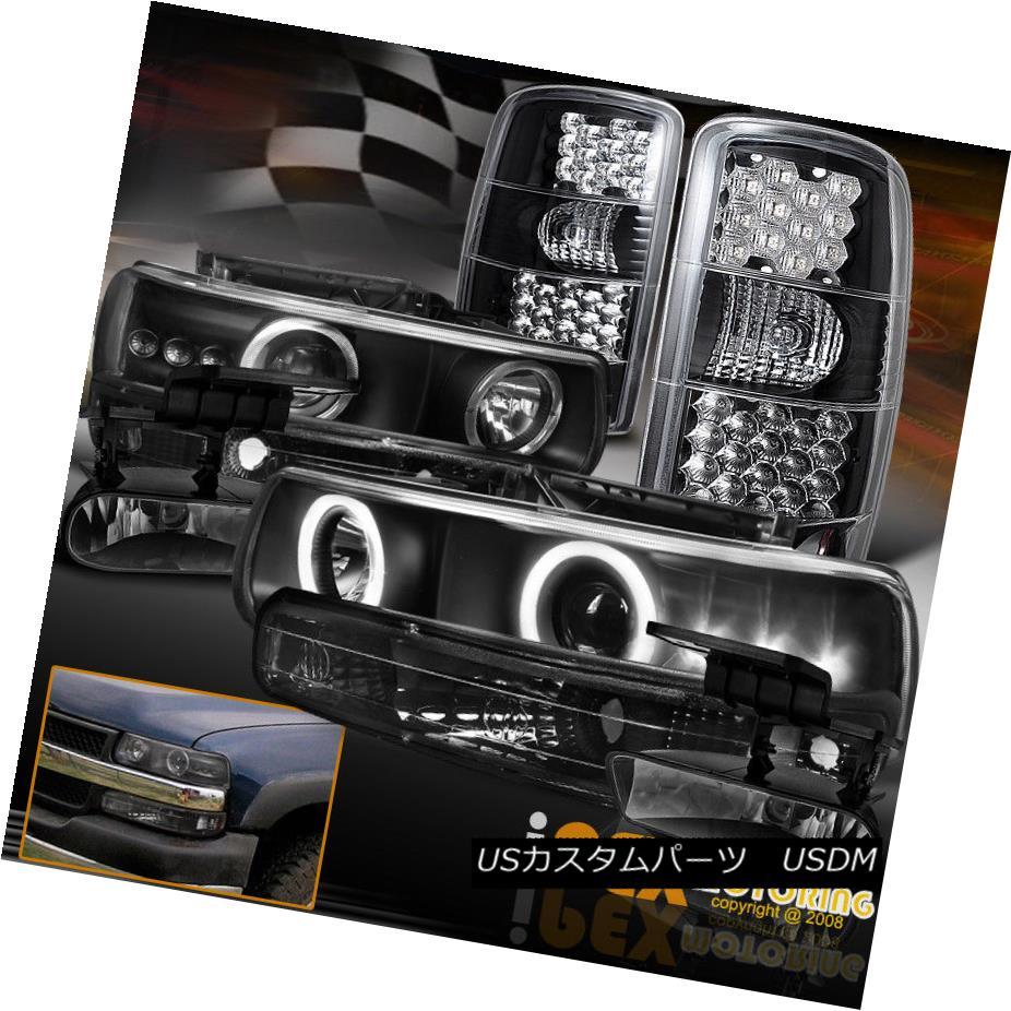 ヘッドライト [FULL 8PCS] Chevy Suburban Tahoe Black LED Tail Light + Halo Projector Headlight [フル8PCS]シボレー郊外タホ黒LEDテールライト+ハロープロジェクターヘッドライト
