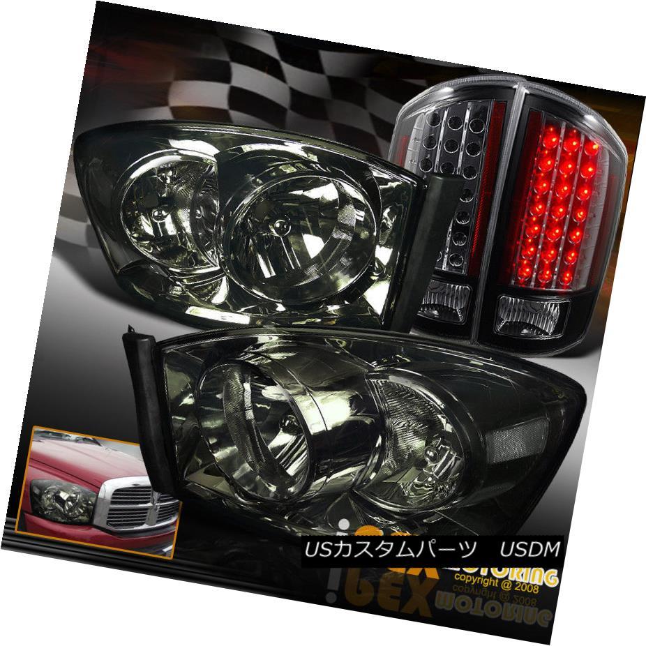 ヘッドライト 2007-2008 Dodge Ram 1500 2500 Smoke Headlights + Limited Version LED Tail Light 2007-2008ダッジラム1500 2500スモークヘッドライト+限定バージョンLEDテールライト