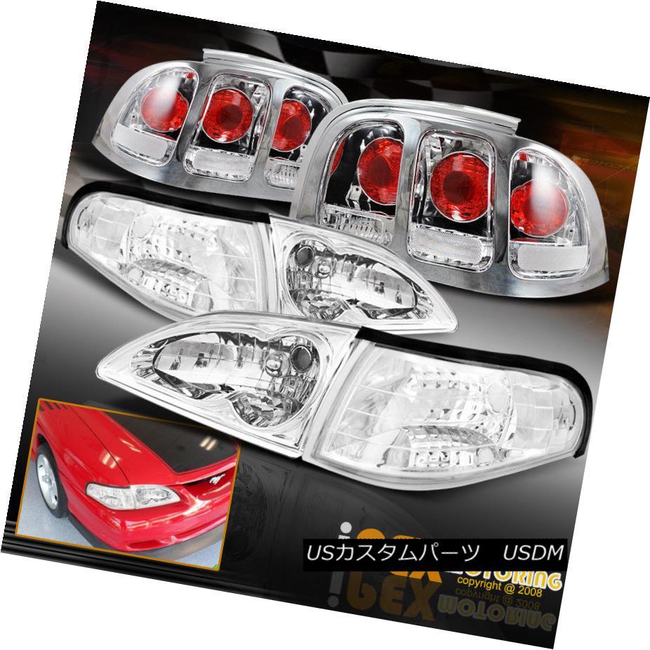 ヘッドライト 1996-1998 Ford Mustang Chrome Headlights W/ Corner Lamp + Cobra Style Tail Light 1996-1998フォードマスタングクロームヘッドライトW /コーナーランプ+コブラスタイルテールライト