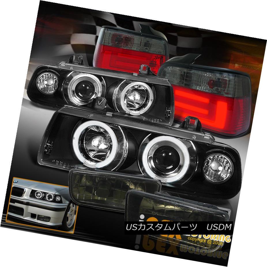 ヘッドライト For E36 4Dr [ FULL COMBO] Black Halo Projector Headlight+LED Tail Light+Fog Lamp E36 4Dr [FULL COMBO]用ブラックハロープロジェクターヘッドライト+ LEDテールライト+フォグランプ