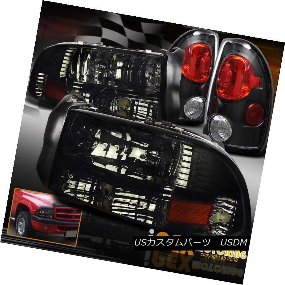 ヘッドライト 1997-2004 Dodge Dakota SHINY SMOKE Headlights W/ Signal Lamp & Black Tail Lights 1997-2004 Dodge Dakota SHINY SMOKEヘッドライトW /シグナルランプ& ブラックテールライト