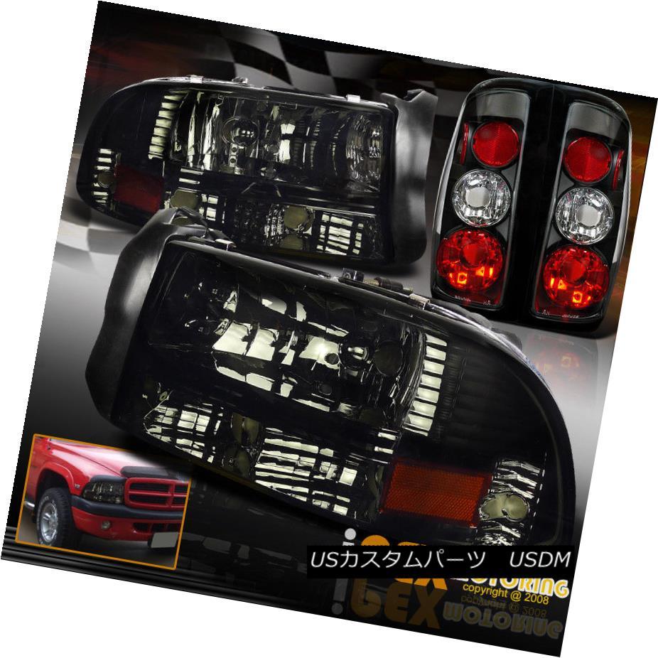 ヘッドライト 1997-2004 Dakota Shiny Smoke Headlight w/ Corner Signal Light + Black Tail Light 1997?2004年ダコタシャイニー・スモーク・ヘッドライト、コーナー・シグナルライト+ブラックテールライト