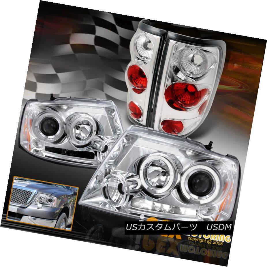 ヘッドライト NEW 2004-2008 Ford F150 Dual Halo Projector LED Headlights w/ Tail Light Chrome NEW 2004-2008 Ford F150デュアルハロープロジェクターLEDヘッドライト(テールライトクローム付)