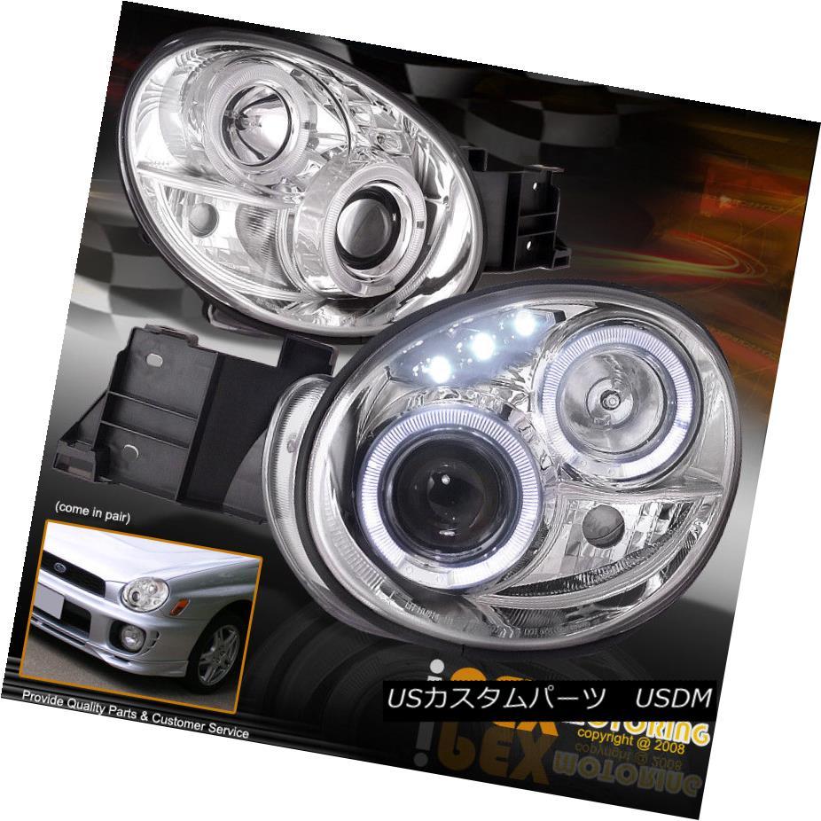 ヘッドライト For 2002-2003 Subaru Impreza WRX RS TS Outback Halo Projector Headlights Chrome 2002?2003年スバルインプレッサWRX RS TSアウトバックハロープロジェクターヘッドライトクローム
