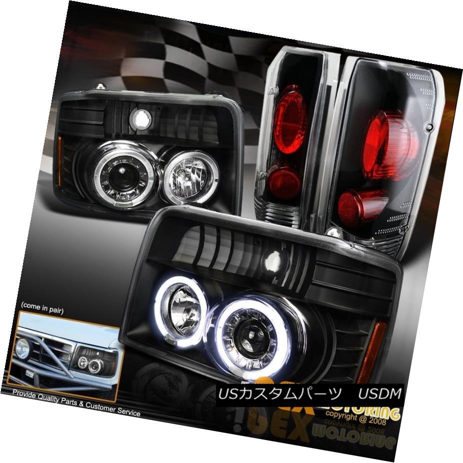 ヘッドライト 1992-1996 Ford F150 F250 Bronce Halo Projector Black Headlights + Tail Lights 1992-1996 Ford F150 F250 Bronce Haloプロジェクターブラックヘッドライト+テールライト