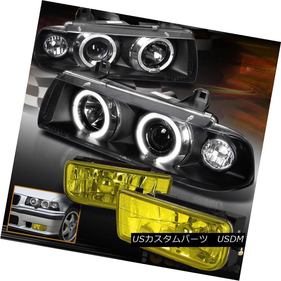 ヘッドライト 92-98 BMW E36 3-Series Halo Projector Black Headlights W/ Yellow Lens Fog Lights 92-98 BMW E36 3系統ハロープロジェクターブラックヘッドライト黄色レンズフォグライト