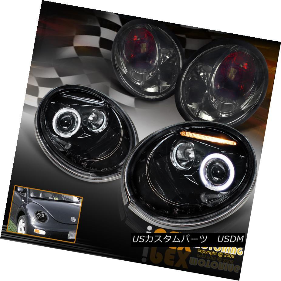 ヘッドライト 1998-2005 VW Beetle Projector Halo Shiny Black Headlights + Smoke Tail Lights 1998-2005 VWビートルプロジェクターハローシャイニーブラックヘッドライト+煙テールライト