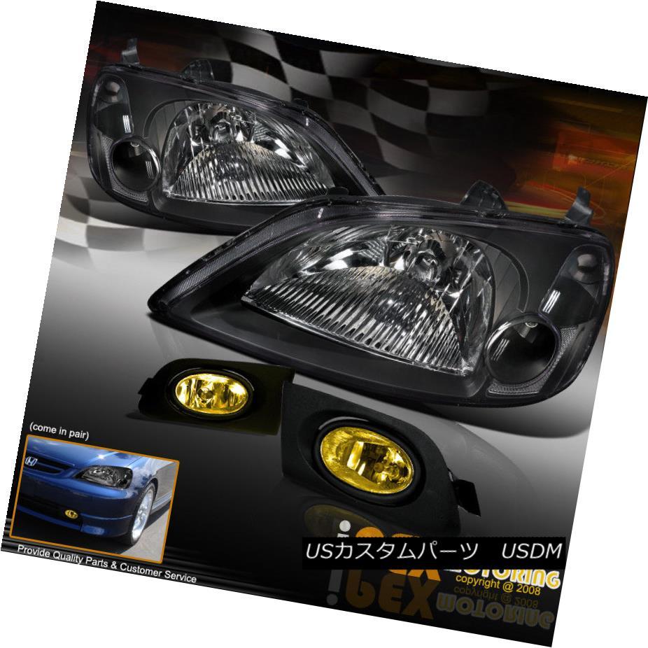ヘッドライト 4PC Combo For 2001-2003 Honda Civic JDM Black Headlight +Yellow Bumper Fog Light 2001-2003ホンダシビックJDMブラックヘッドライト+イエローバンパーフォグライト用4PCコンボ