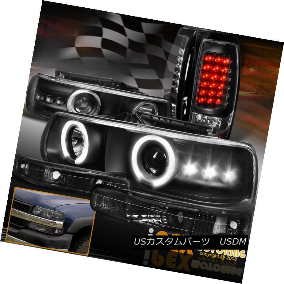 ヘッドライト For 1999-2002 Chevy Silverado Halo Projector Headlights + Black LED Tail Lights 1999-2002シボレーシルバラードハロープロジェクターヘッドライト+ブラックLEDテールライト用