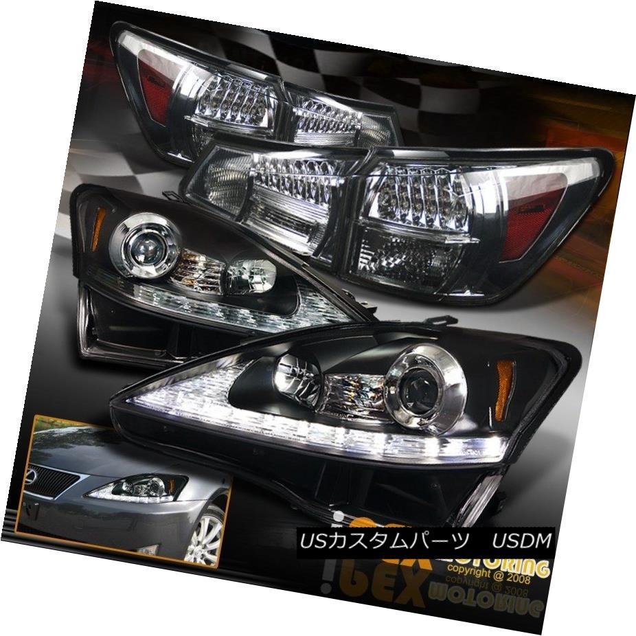 ヘッドライト 06-09 Lexus IS250 LED DRL Signals Projector Black Headlight+LED Smoke Tail Light 06-09 Lexus IS250 LED DRL信号プロジェクターブラックヘッドライト+ LED煙テールライト