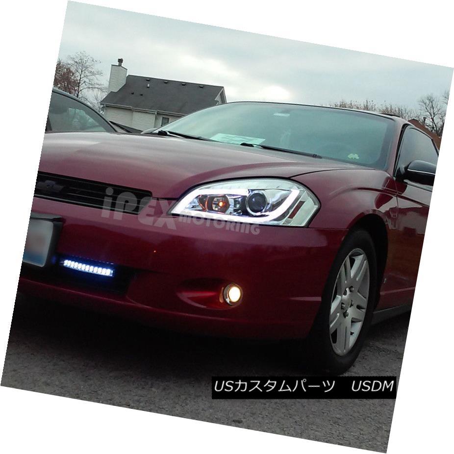 ヘッドライト 2006-2013 Chevy Impala Projector Chrome Headlights W/ Glow LED Strip DRL Light 2006-2013シボレーインパラプロジェクタークロームヘッドライトW /グローLEDストリップDRLライト