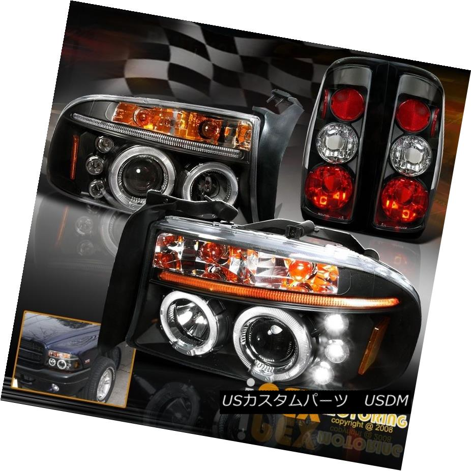 ヘッドライト 1997-2004 Dodge Dakota Dual Halo Projector LED Headlights + Black Tail Light 1997-2004 Dodge DakotaデュアルヘイロープロジェクターLEDヘッドライト+ブラックテールライト