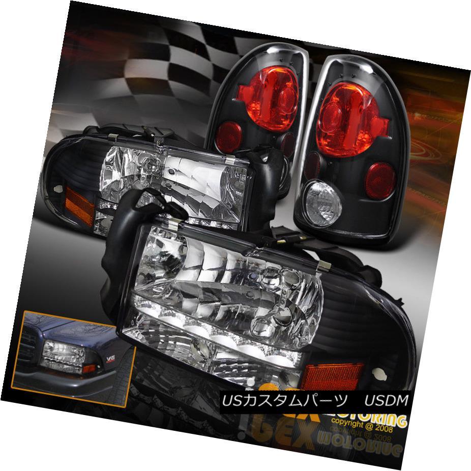 ヘッドライト 1997-2004 Dodge Dakota Brighest LED DRL Black Headlights + Euro Tail Lights 1997-2004 Dodge Dakota最も明るいLED DRLブラックヘッドライト+ユーロテールライト