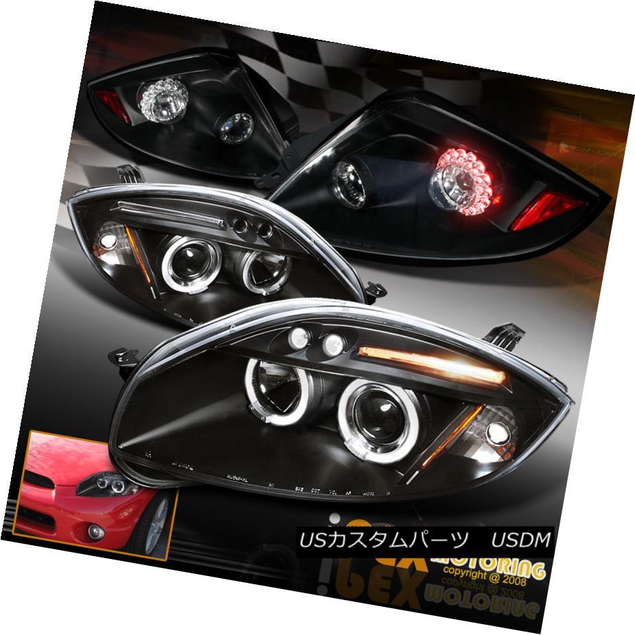 ヘッドライト 06-11 Mitsubishi Eclipse Halo Projector Black Headlights + Bright LED Tail Light 06-11三菱Eclipse Haloプロジェクターブラックヘッドライト+ブライトLEDテールライト