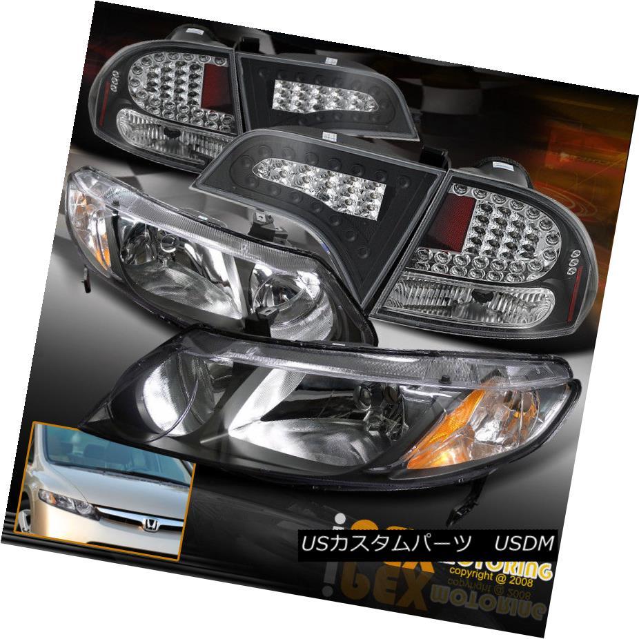 ヘッドライト 06-11 Honda Civic 4Dr Sedan JDM Black Headlights W/ Ultra LED Black Tail Lights 06-11ホンダシビック4DrセダンJDMブラックヘッドライトW /ウルトラLEDブラックテールライト