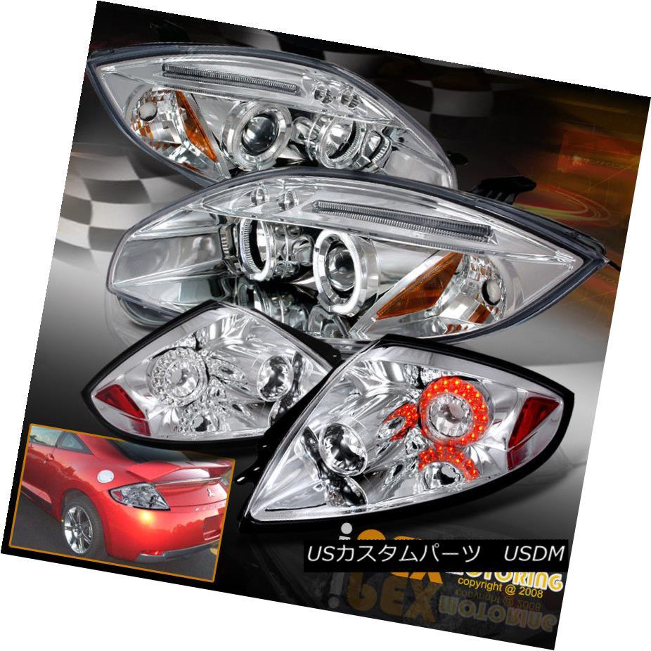 ヘッドライト Brightest Halo 2006-2011 Mitsubishi Eclipse Projector Headlight + LED Tail Light 最も明るいヘイロー2006-2011三菱Eclipseプロジェクターヘッドライト+ LEDテールライト