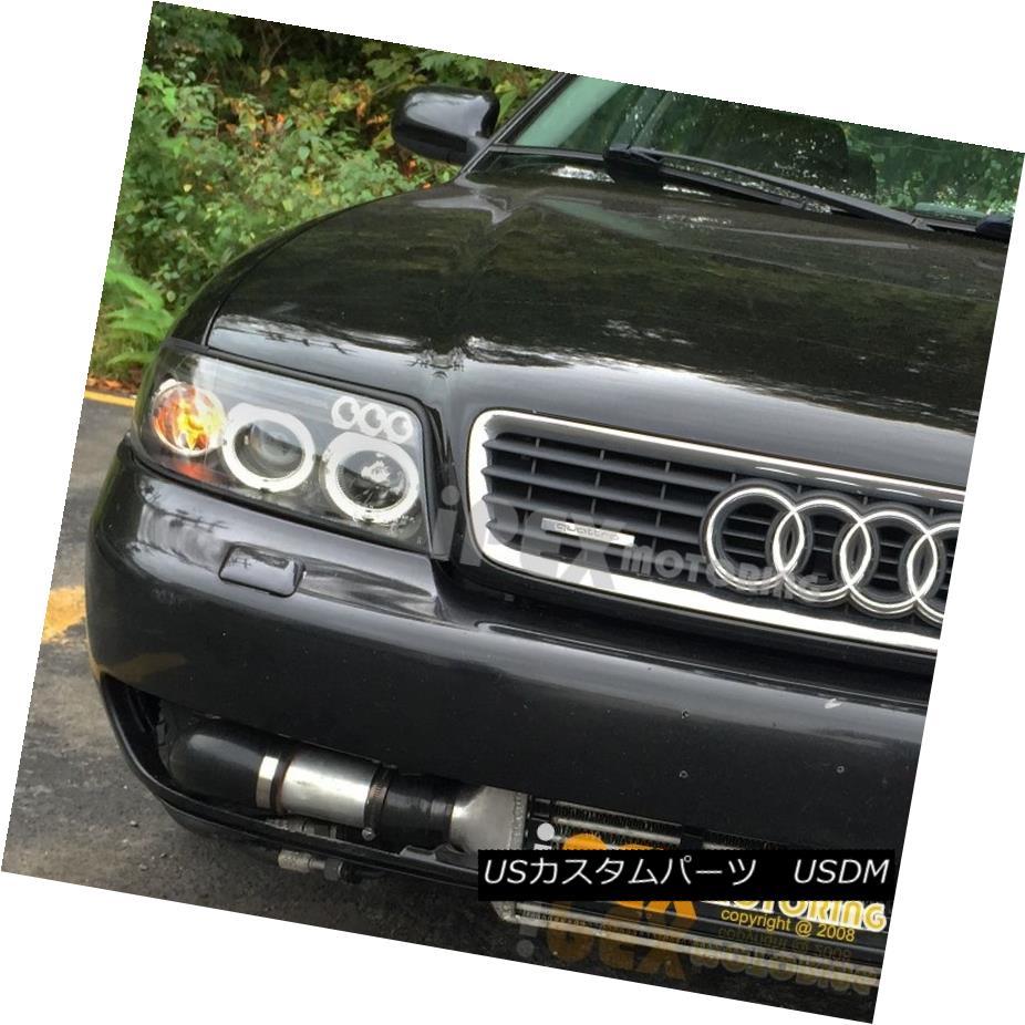 ヘッドライト NEW For 2000-2001 Audi A4 B5 Dual Halo Projector LED Headlights Headlamps Black NEW for 2000-2001 Audi A4 B5デュアル・ハロー・プロジェクターLEDヘッドライトヘッドランプブラック