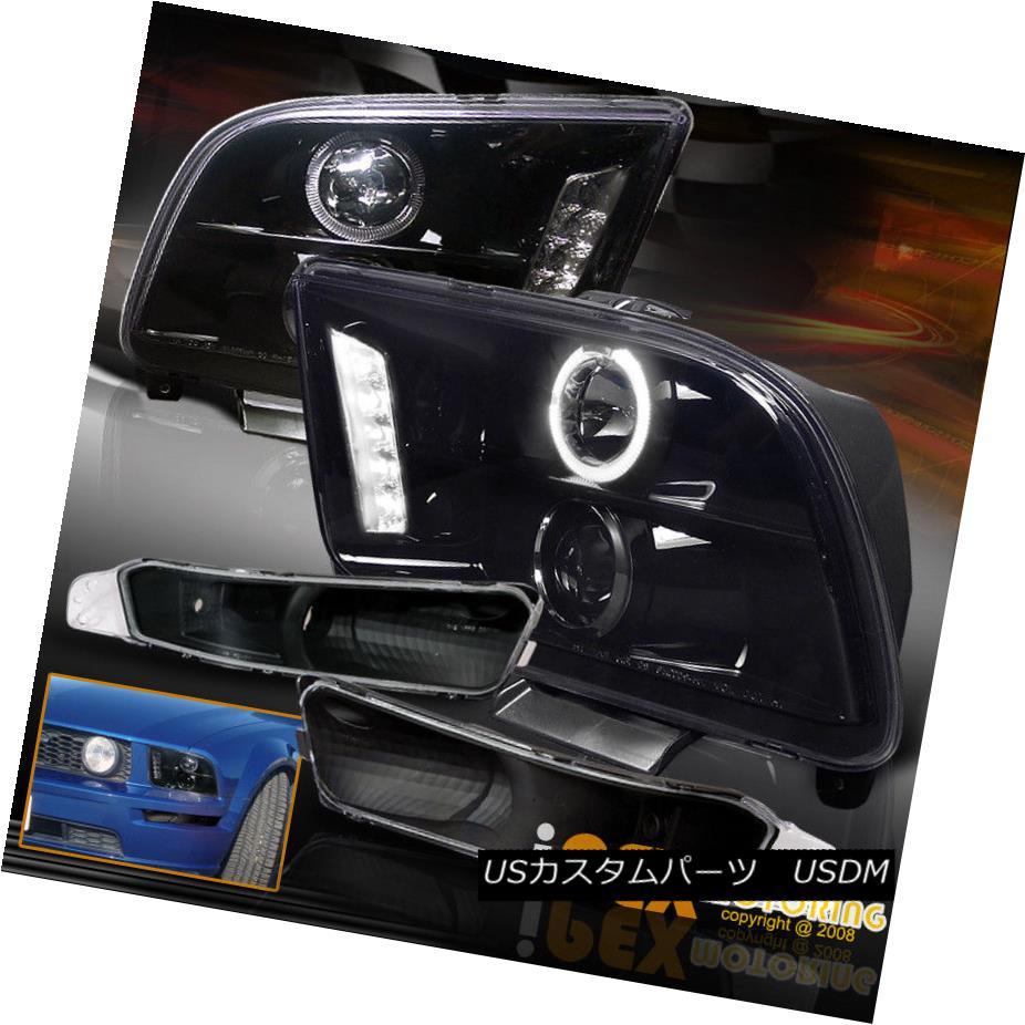 ヘッドライト 05-09 Mustang Halo Projector LED Shiny Black Headlights + Parking Signal Light 05-09 Mustang HaloプロジェクターLEDシャイニーブラックヘッドライト+パーキングシグナルライト