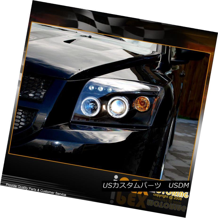 ヘッドライト NEW For 2007-2012 Dodge Caliber Dual Halo Projector LED Headlight Headlamp Black 2007-2012年のNEW!Dodge CalibreデュアルヘイロープロジェクターLEDヘッドライトヘッドランプブラック