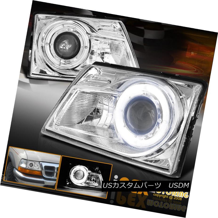 ヘッドライト 1998-2000 Ford Ranger [ SUPER HALO RIM ] Projector Chrome Headlights Lamps 1998-2000フォードレンジャー[SUPER HALO RIM]プロジェクタークロームヘッドライトランプ