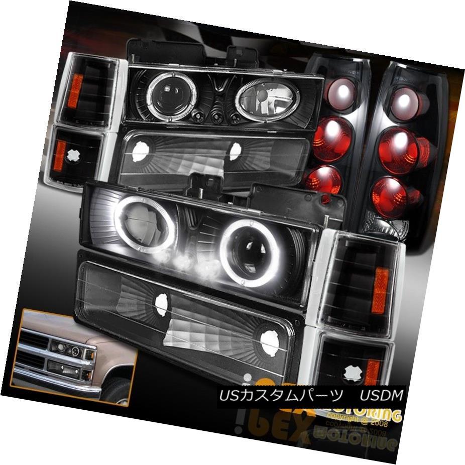 ヘッドライト 94-98 GMC Sierra Halo Projector Black Headlights W/Signal +Dark Smoke Tail Light 94-98 GMC Sierra HaloプロジェクターブラックヘッドライトW /シグナル+ダークスモークテールライト