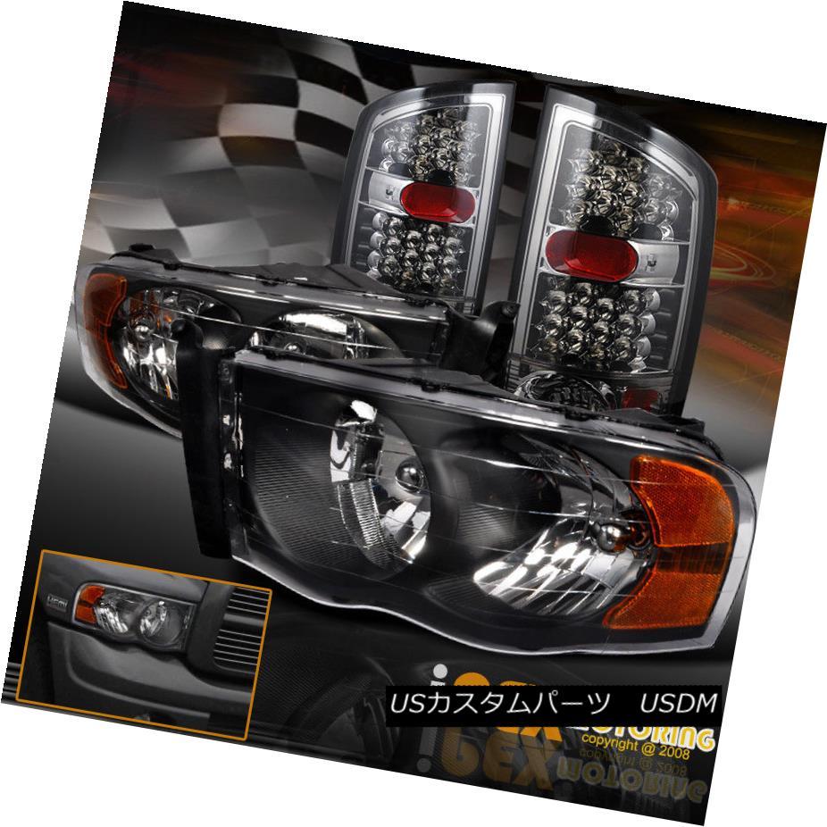 ヘッドライト 2002-2005 Dodge Ram 1500/2500/3500 Black Headlights + FULL LED Smoke Tail Light 2002-2005ダッジラム1500/2500/3500ブラックヘッドライト+フルLEDスモークテールライト