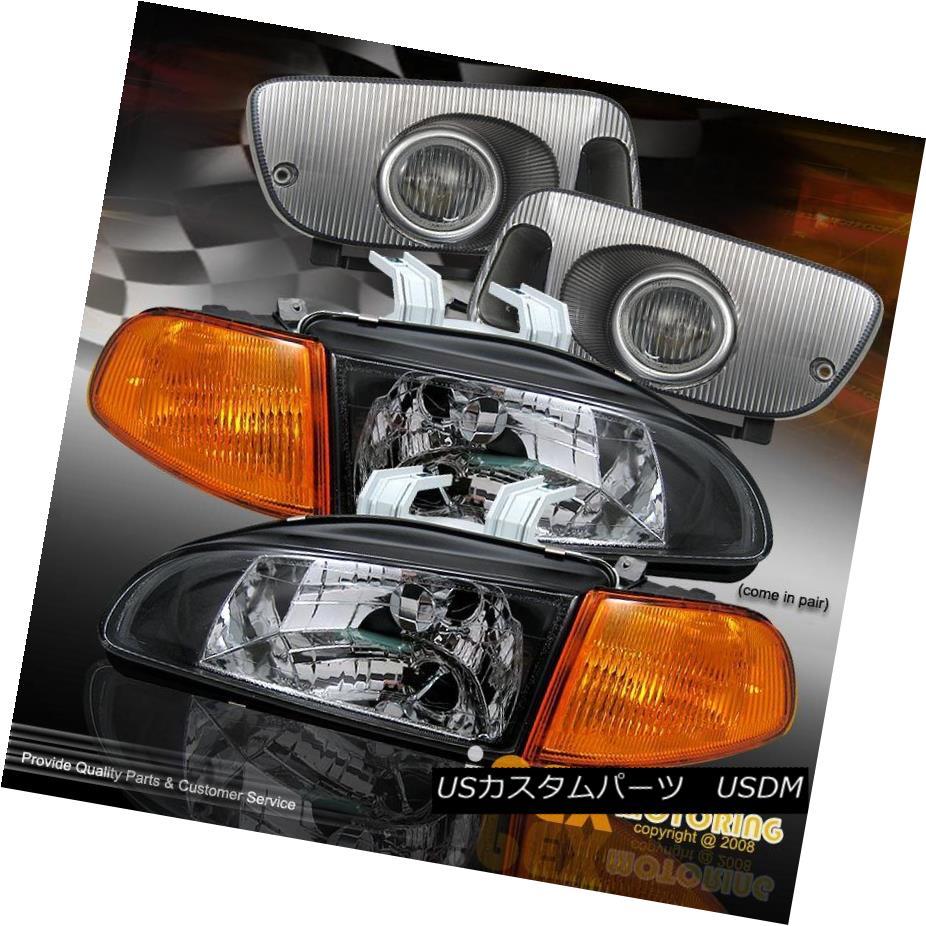 ヘッドライト 92-95 Honda Civic Hatch/Coupe JDM Black Headlight + Amber Signal Light+ Fog Lamp 92-95ホンダシビックハッチ/クーペJDMブラックヘッドライト+アンバーシグナルライト+フォグランプ