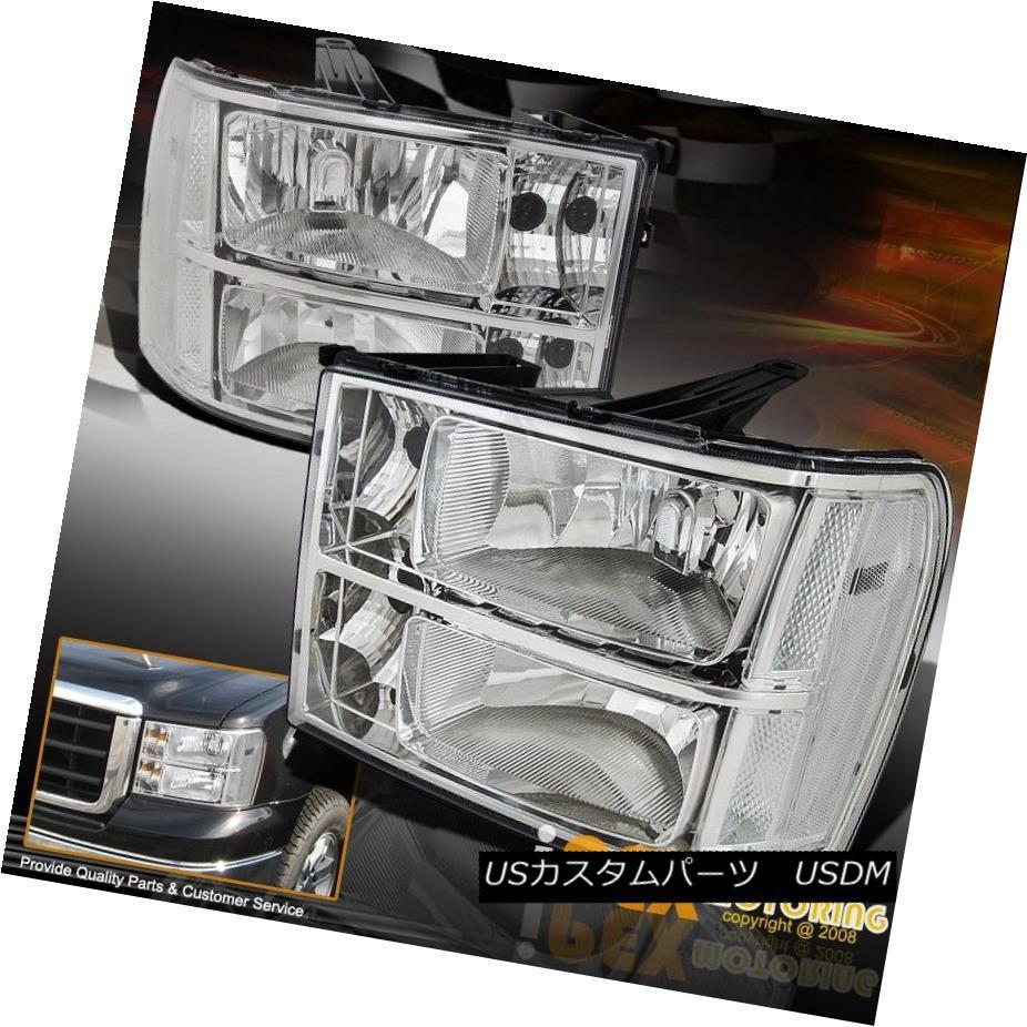 ヘッドライト [Clear Reflector] 2007-2013 GMC Sierra 1500 2500HD 3500HD Chrome Headlights Pair [Clear Reflector] 2007-2013 GMC Sierra 1500 2500HD 3500HDクロームヘッドライトペア