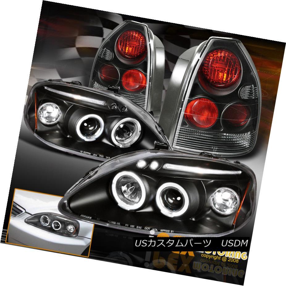 ヘッドライト Hatchback 4Pcs Black Combo 1999-0000 Honda Civic LED Halo Headlights+ Tail Light ハッチバック4個入りブラックコンボ1999-0000ホンダシビックLEDハローヘッドライト+テールライト
