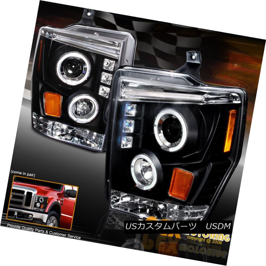 ヘッドライト 2008-2010 Ford F250 F350 F450 Super-Duty Halo Projector LED Headlights Black 2008-2010 Ford F250 F350 F450スーパーデューティーハロープロジェクターLEDヘッドライトブラック