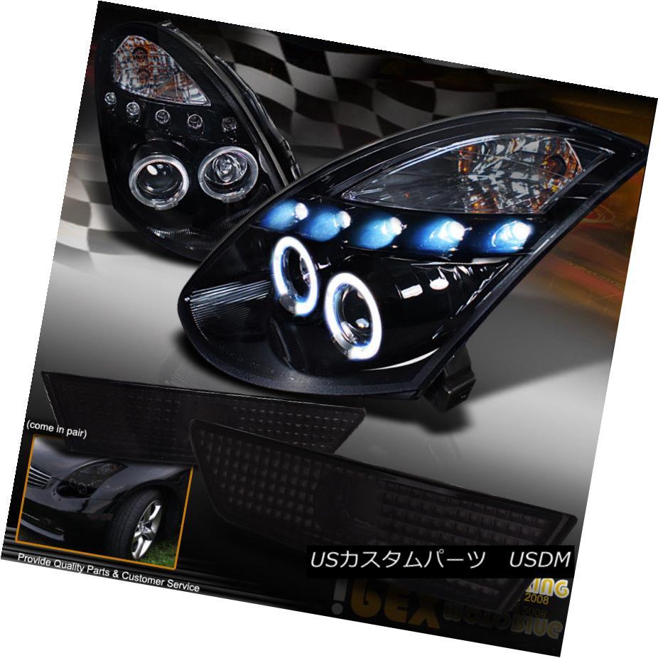 車用品 引出物 バイク用品 >> パーツ ライト ランプ ヘッドライト For 03-07 Infiniti G35 Projector Sid Headlights+Side 2Dr Halo 待望 LED Marker Black Haloプロジェクター用LEDシャイニーブラックヘッドライト+ Shiny eマーカー