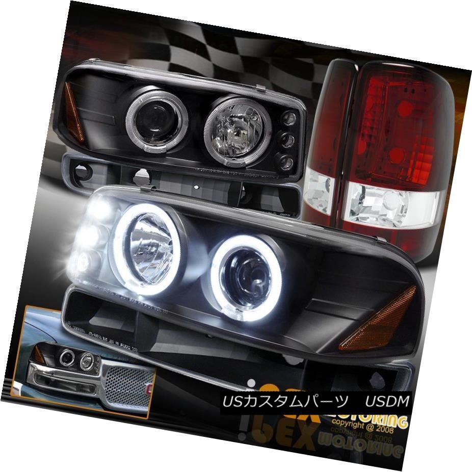ヘッドライト GMC Yukon SLT SLE Halo Projector Black Headlights W/ Signals + Red Tail Lights GMC Yukon SLT SLEハロープロジェクターブラックヘッドライトW /シグナル+レッドテールライト