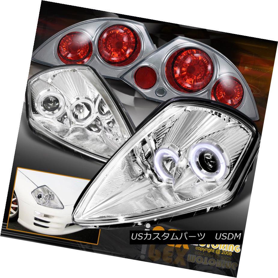 ヘッドライト 2000-2005 Mitsubishi Eclipse Halos Projector Chrome Headlights W/ Tail Light 2000-2005三菱Eclipse HalosプロジェクタークロームヘッドライトW /テールライト