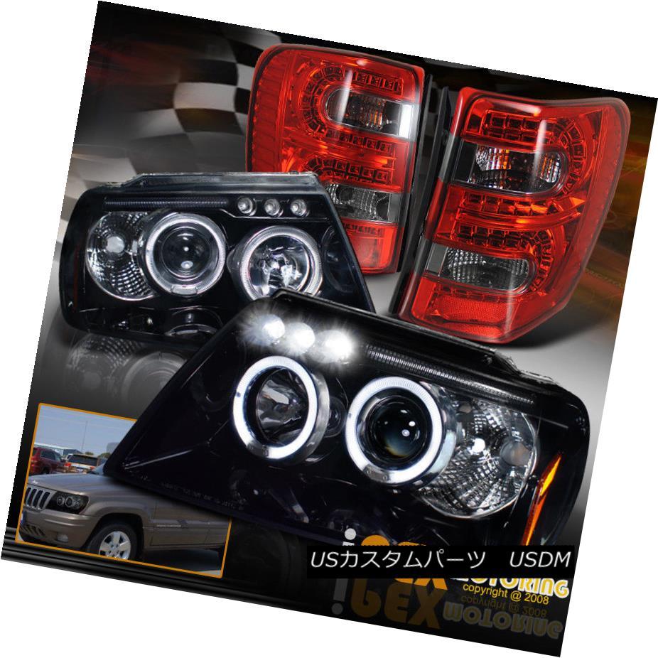 ヘッドライト 99-04 Grand Cherokee Halo Projector Shiny Black Headlight + Smoke LED Tail Light 99-04 Grand Cherokee Haloプロジェクターシャイニーブラックヘッドライト+スモークLEDテールライト