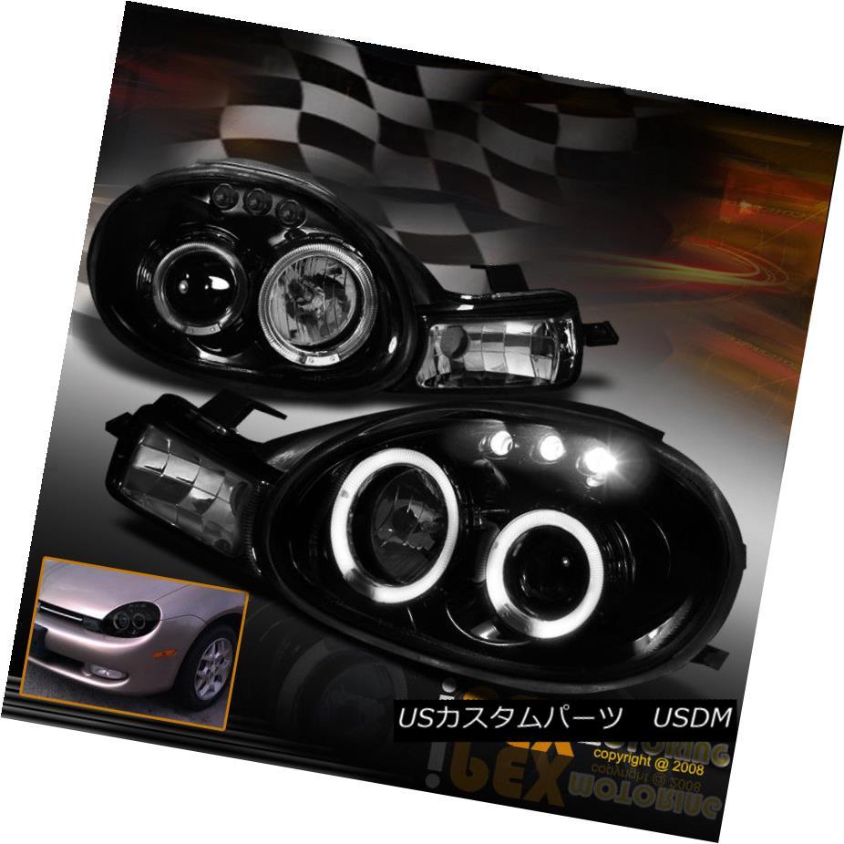 ヘッドライト For 2000-2002 Dodge Neon Projector Shiny Black Headlight With Halo & LED Lights 2000-2002年には、ダッジネオンプロジェクターシャイニーブラックヘッドライトとHalo& LEDライト