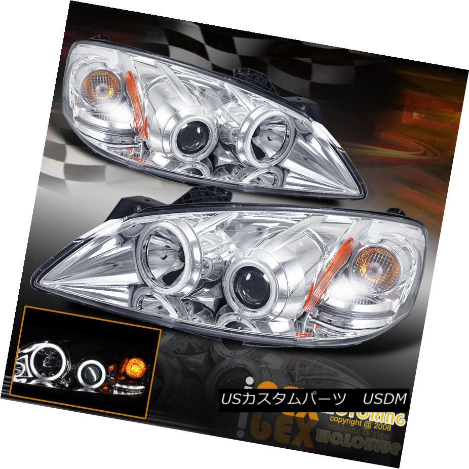 ヘッドライト 2005-2010 Pontiac G6 Bright CCFL Halo Rim LED Signal Projector Chrome Headlights 2005-2010ポンティアックG6ブライトCCFLハローリムLEDシグナルプロジェクタークロームヘッドライト