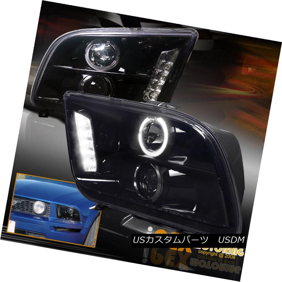 ヘッドライト For 2005-2009 Ford Mustang Dual Halo Projector LED Headlights In Shiny Black 2005-2009フォードマスタングデュアルヘイロープロジェクター用LEDヘッドライト(シャイニーブラック)