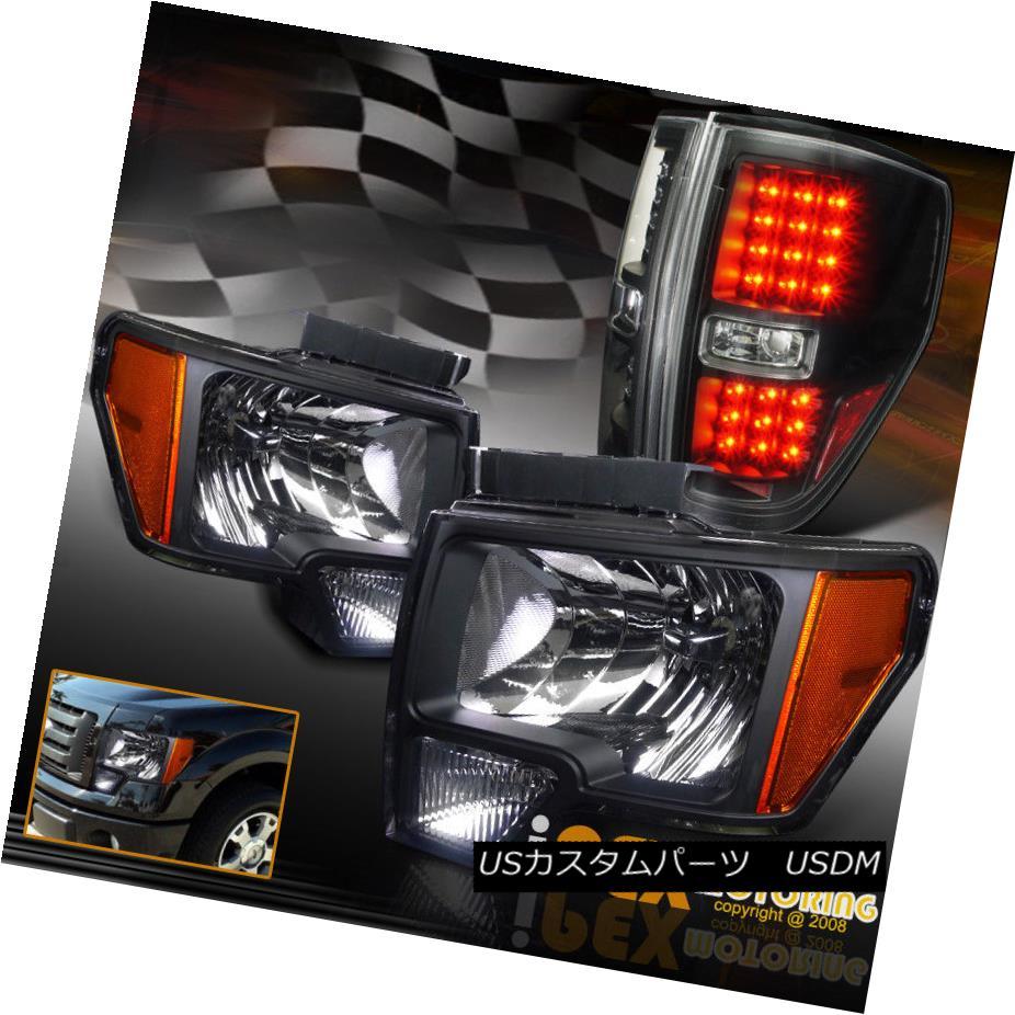 ヘッドライト New 2009-2014 Ford F150 Factory Style Black Headlights + LED Black Tail Lights New 2009-2014 Ford F150ファクトリースタイルブラックヘッドライト+ LEDブラックテールライト