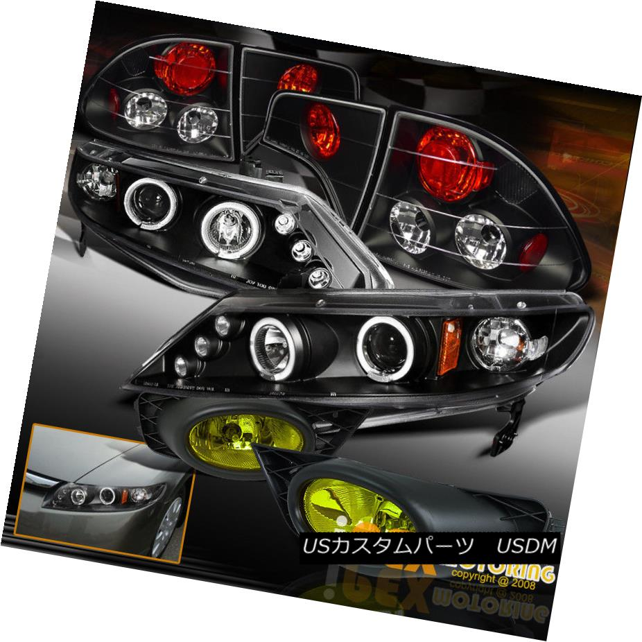 ヘッドライト 09-11 Honda Civic 4Dr Halo Projector LED Headlight Black W/ Tail Light +Fog Lamp 09-11ホンダシビック4DrハロープロジェクターLEDヘッドライトブラックW /テールライト+フォグランプ