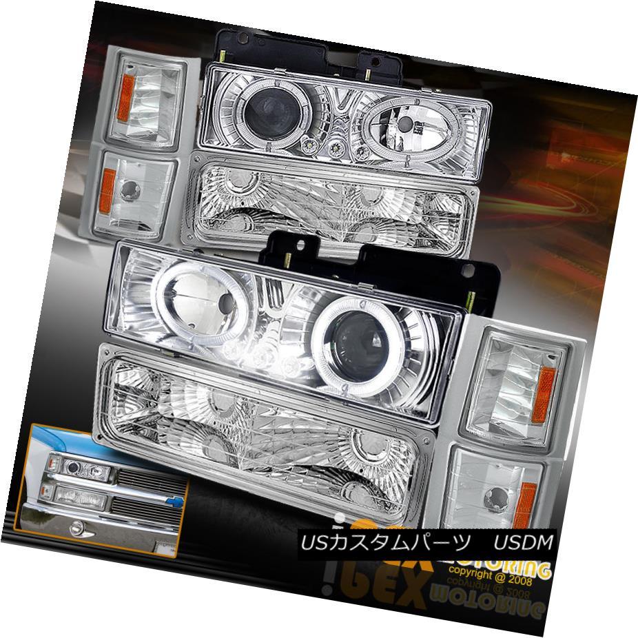 ヘッドライト 1994-1998 Chevy Silverado Tahoe Dual Halo Projector LED Headlight+Signal Light 1994-1998シボレーシルバラードタホデュアルハロープロジェクターLEDヘッドライト+サイン al Light