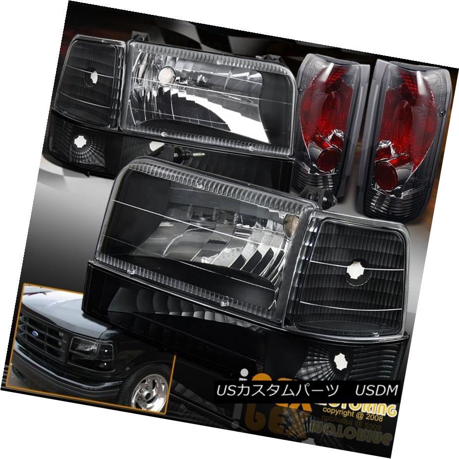 ヘッドライト 1992-1996 Ford F150 F250 Bronco Black Headlights + Signal Lamp +Smoke Tail Light 1992-1996フォードF150 F250ブロンコブラックヘッドライト+シグナルランプ+スモークテールライト