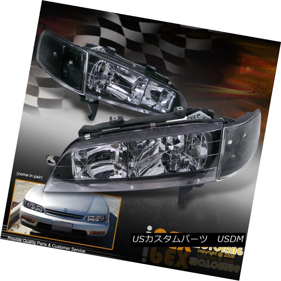 ヘッドライト New 1994-1997 Honda Accord JDM Style Black Headlights + Corner Signal Lights New 1994-1997ホンダアコードJDMスタイルブラックヘッドライト+コーナー信号ライト