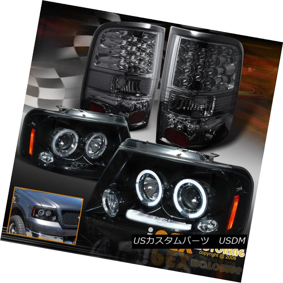 ヘッドライト 2004-2008 Ford F150 Halo Projector Shiny Black Headlights + LED Smoke Tail Light 2004-2008フォードF150ハロープロジェクターシャイニーブラックヘッドライト+ LEDスモークテールライト