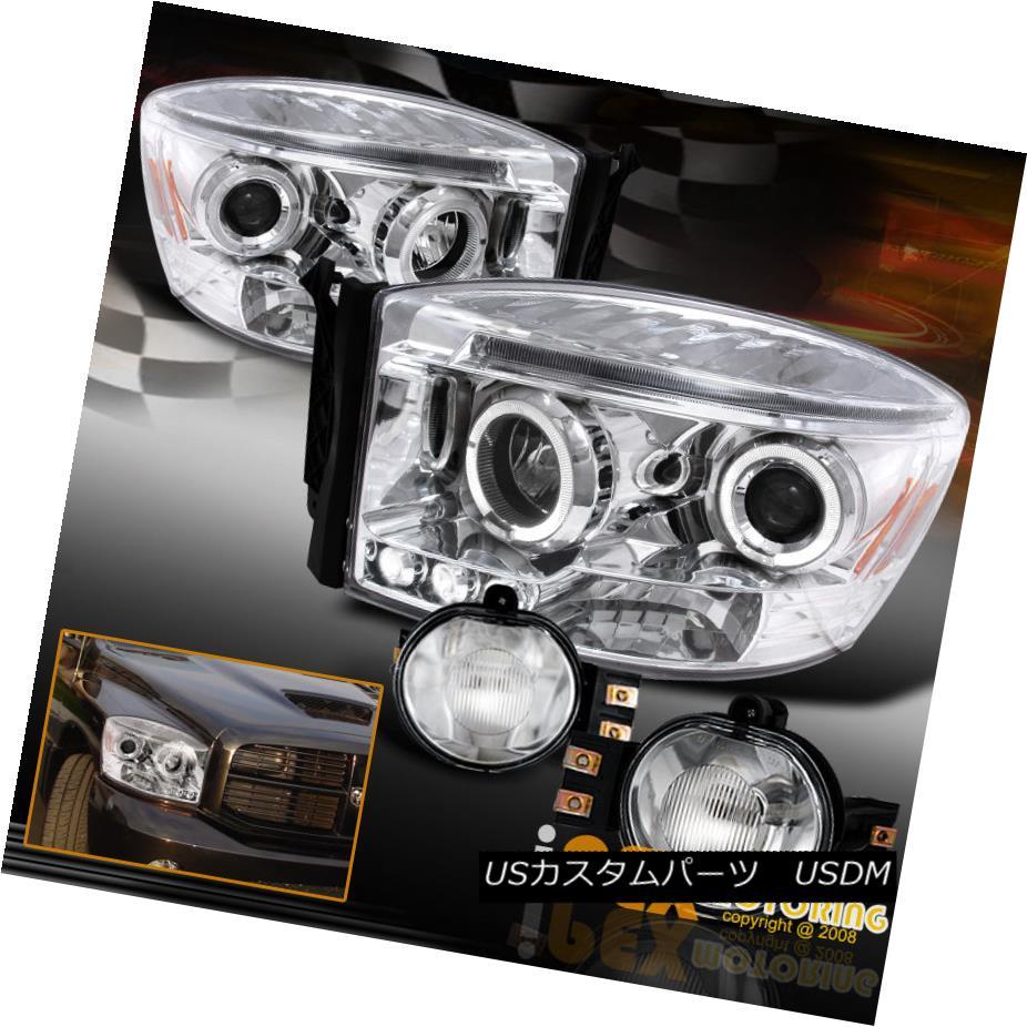ヘッドライト 2006-2008 Dodge RAM 1500 2500 3500 Halo Projector LED Chrome Headights+Fog Light 2006-2008 Dodge RAM 1500 2500 3500 HaloプロジェクターLEDクロームヘッドライト+フォグライト