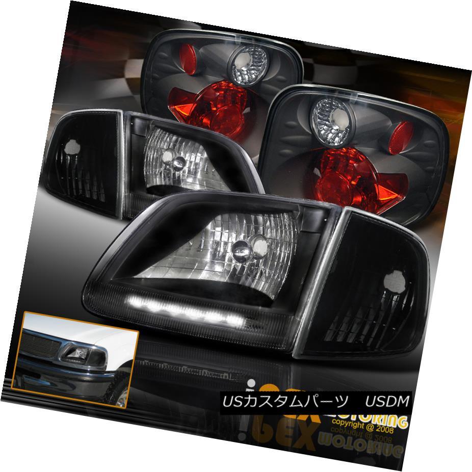 ヘッドライト 01-03 Ford F150 King Ranch Lightning LED Black Headlights + Corner + Tail Light 01-03フォードF150キングランチライトニングLEDブラックヘッドライト+コーナー+テールライト