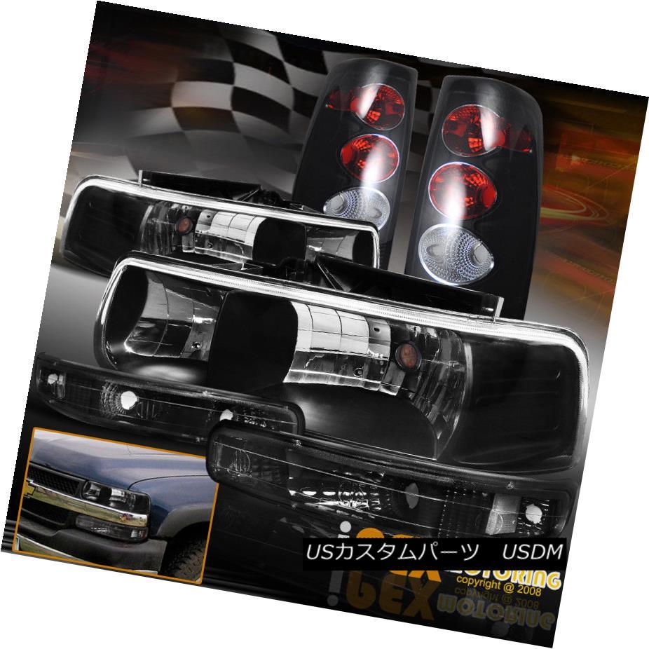 ヘッドライト 1999-2002 Chevy Silverado Black Headlight + Bumper Lamp + Dark Smoke Tail Light 1999-2002シボレーシルバラードブラックヘッドライト+バンパーランプ+ダークスモークテールライト