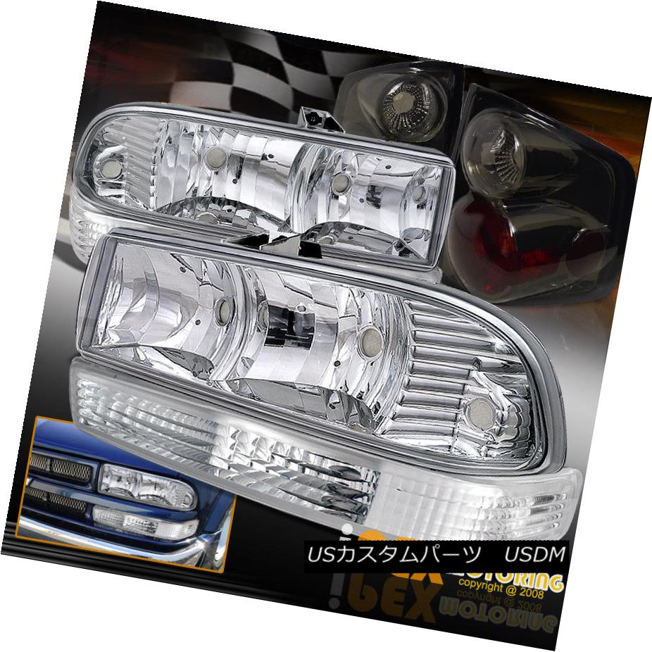 ヘッドライト 1998-2004 Chevy S10 S-10 Chrome Headlight + Clear Signal Lamp + Smoke Tail Light 1998-2004シボレーS10 S-10クロームヘッドライト+クリアシグナルランプ+スモークテールライト