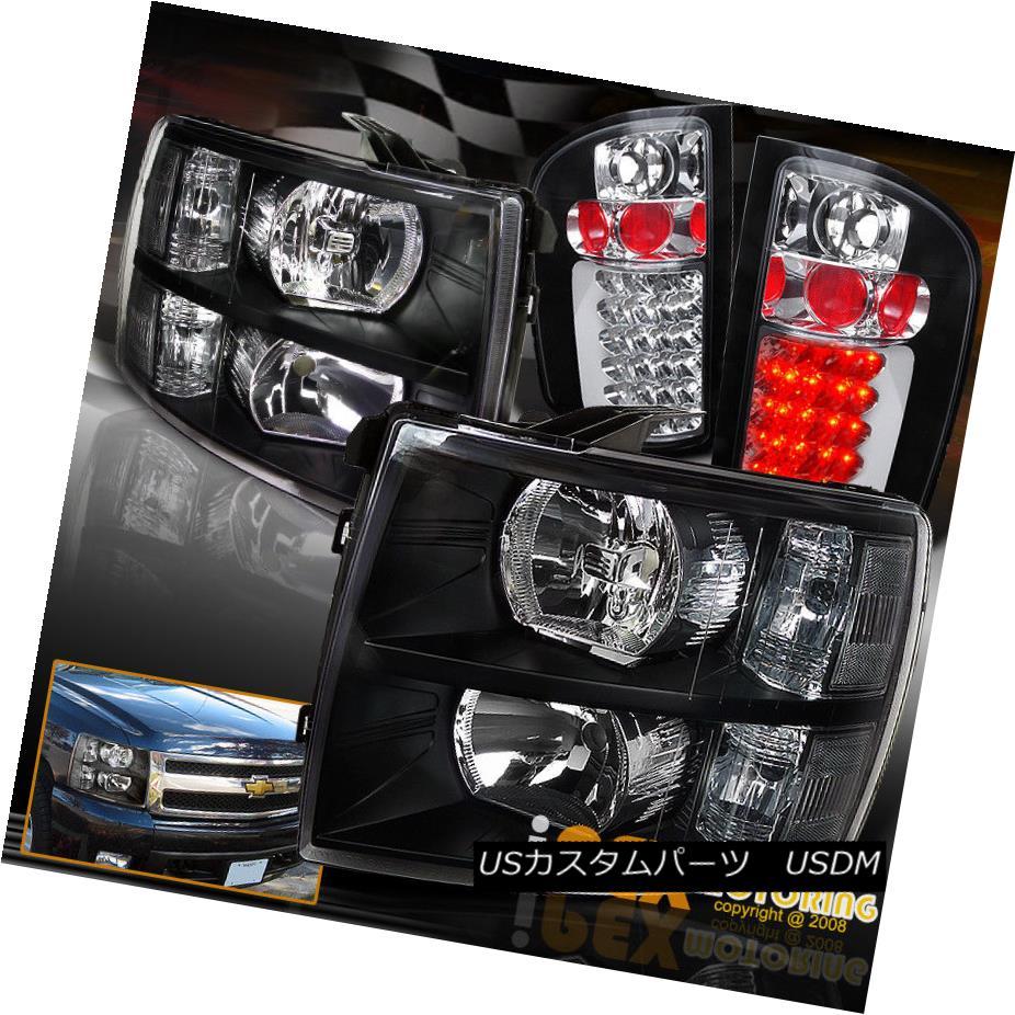 ヘッドライト 2007-2014 Chevy Silverado 1500 2500HD 3500HD Black Headlights W/ Led Tail Lights 2007-2014シボレーシルバラード1500 2500HD 3500HDブラックヘッドライト(テールライト付き)