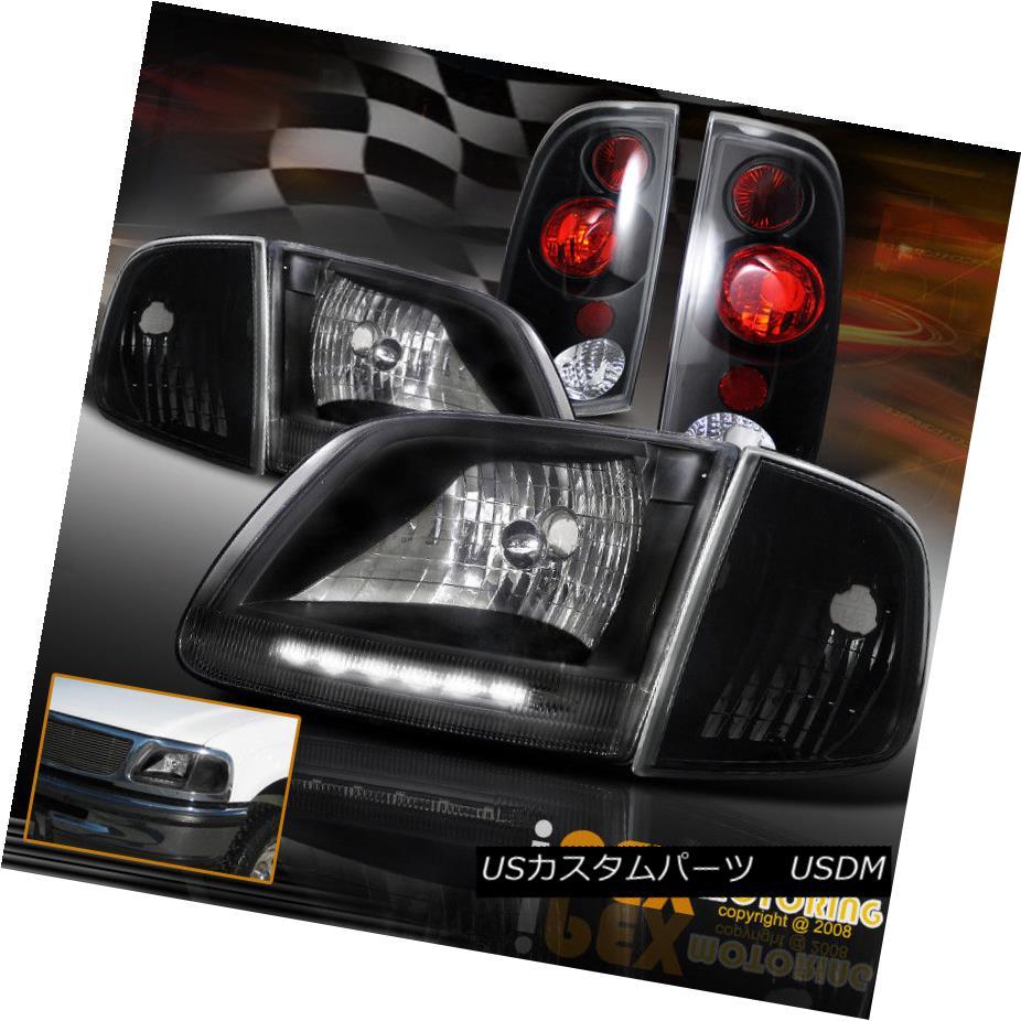 ヘッドライト BLACK 4PC Combo 1997-2003 Ford F150 LED Headlights + Corner Signals + Tail Light ブラック4PCコンボ1997-2003フォードF150 LEDヘッドライト+コーナー信号+テールライト