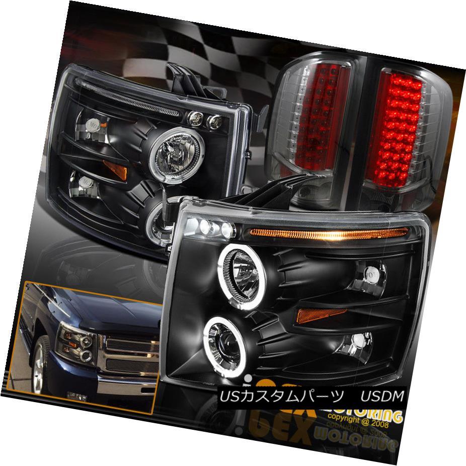 ヘッドライト Chevy 2007-2014 Silverado Halo Projector Black Headlights + Ultra LED Tail Light Chevy 2007-2014 Silverado Haloプロジェクターブラックヘッドライト+ Ultra LEDテールライト